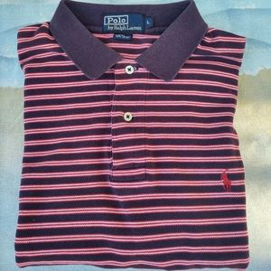 Polo By Ralph Lauren Short Sleeve T-Shirt Blue w/ Red/White Striped Sz L